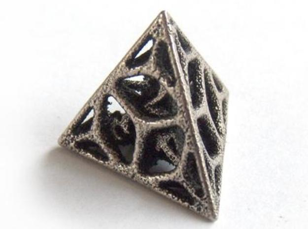 Cage Die4 3d printed In stainless steel and inked