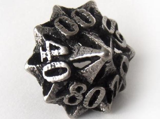 Pinwheel Decader Die10 3d printed In stainless steel and inked