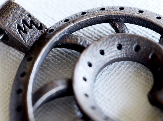 Nautilus Shell Keychain 3d printed detail of logo