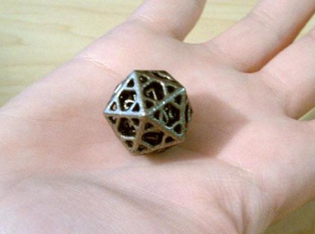 Cage Die20 3d printed In stainless steel and inked.
