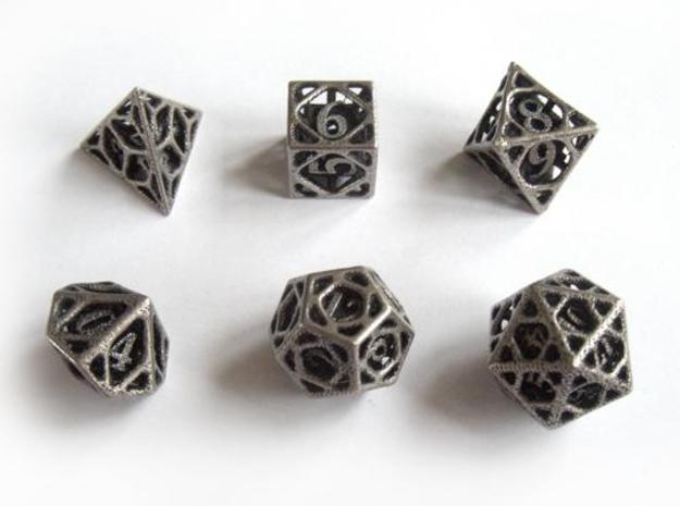 Cage Dice Set 3d printed In stainless steel and inked