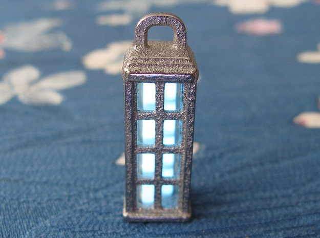 Tardis Lantern 1: Tritium (All Materials) 3d printed In this picture the phosphorus coating on the tritium vial being energised by UV light.