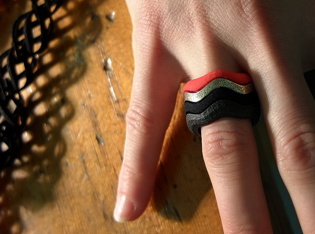 """Hitten Hearts "" two or more parts fits together 3d printed 4 part ring"