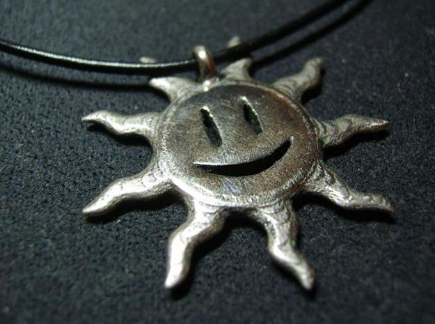 Smiling sun pendant 3d printed Custom polish 2