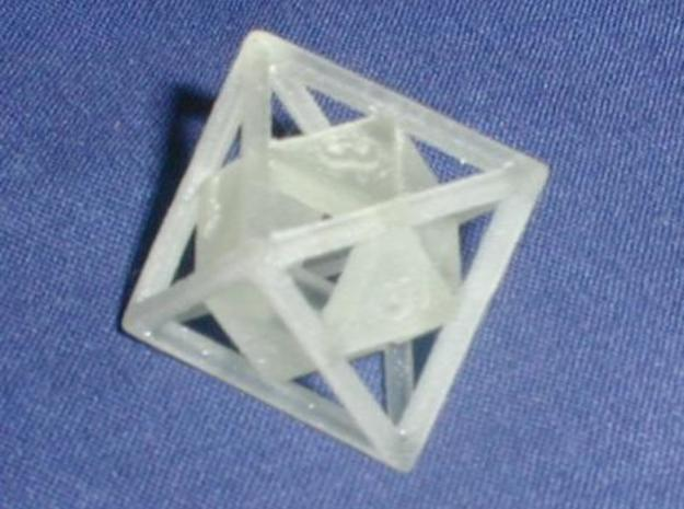 """Open"" d8 - Eight-sided die 3d printed Printed in transparent detail."
