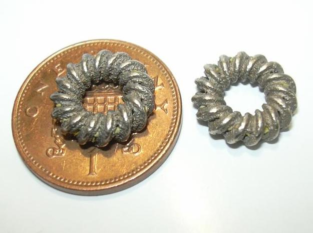 2 strand right hand mobius spiral charm bead 3d printed Photo- penny shown for size