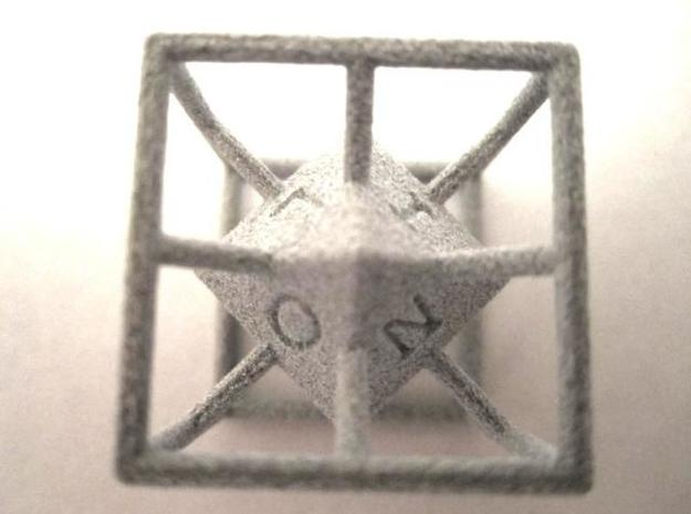 4-Letter Words D6 Cage Dice 3d printed Alumide (showing L-I-O-N)