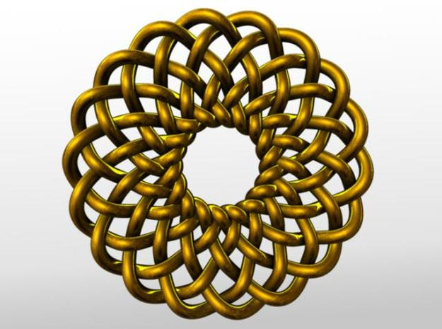Celtic Knots 02 (small) 3d printed Rendered in gold.