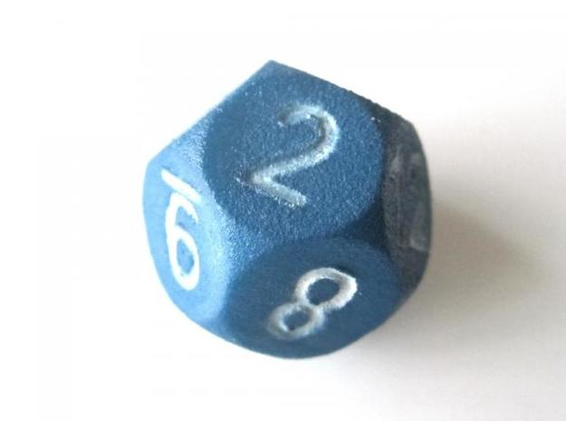D12 Sphere Dice 3d printed In Blue Strong and Flexible (the colors on the numbers were manually added)