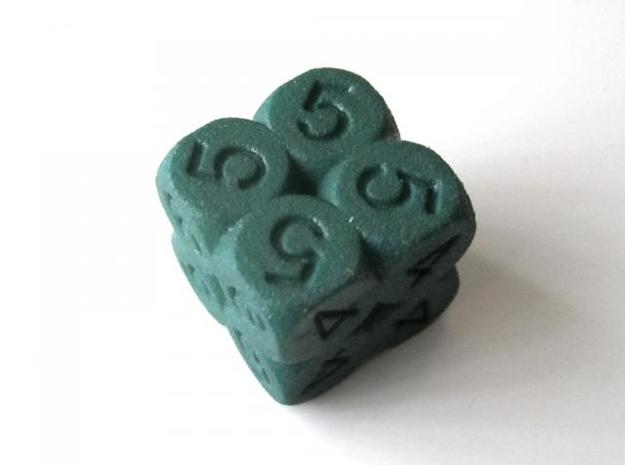 D6 2x2x2 Packed Spheres Dice 3d printed In Winter Green Strong and Flexible