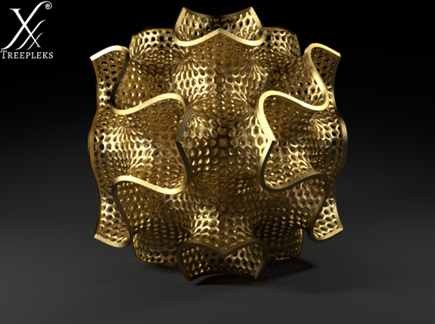 Schwartz D large (7.5 cm diameter) 3d printed Gold polished steel, Cycle render.