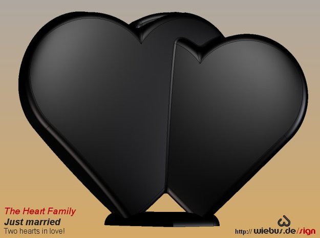 Heart Family - Just married! (large size) 3d printed