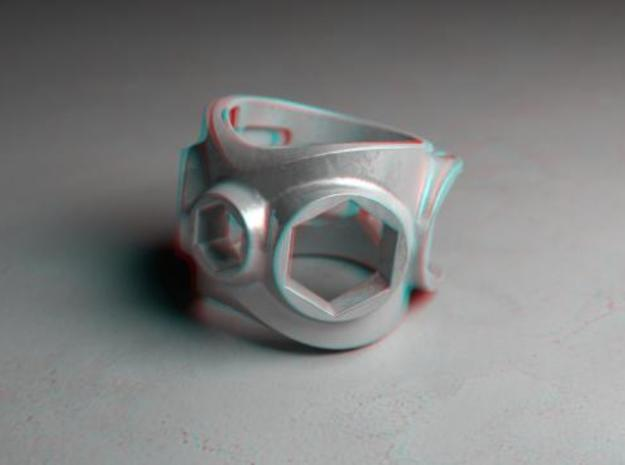 1086 ToolRing - size 8 (18,19 mm) 3d printed 1086 ToolRing - Anaglyph (front)