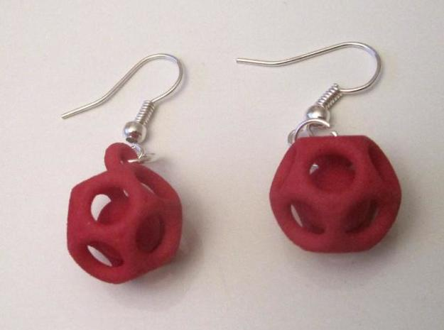 Dod Earrings w/ Spheres 3d printed Red Strong & Flexible (hooks not included)