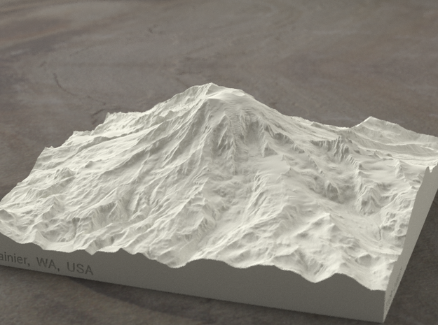 6'' Mt. Rainier, Washington, USA, Sandstone 3d printed Radiance rendering of model from south