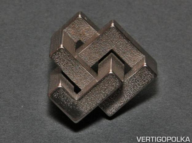 Cubic Trefoil Knot 1inch 3d printed Cubic Trefoil Knot - stainless steel - 1-inch