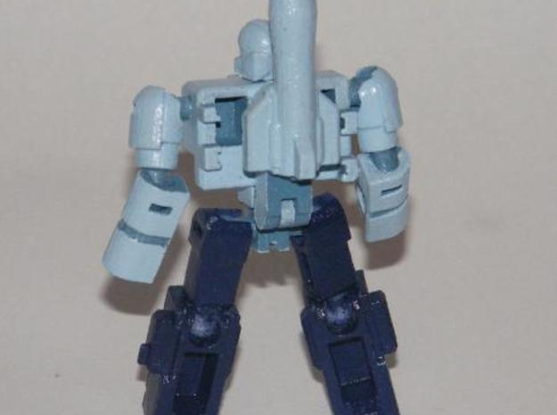"""Mayhem"" Gunslinger figure 3d printed Mayhem robot mode, rear view, showing tabs"