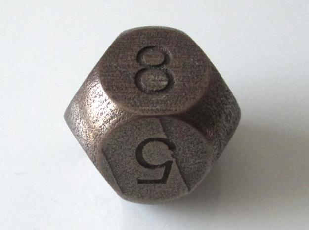 D8 Sphere Dice 3d printed Antique Bronze Glossy