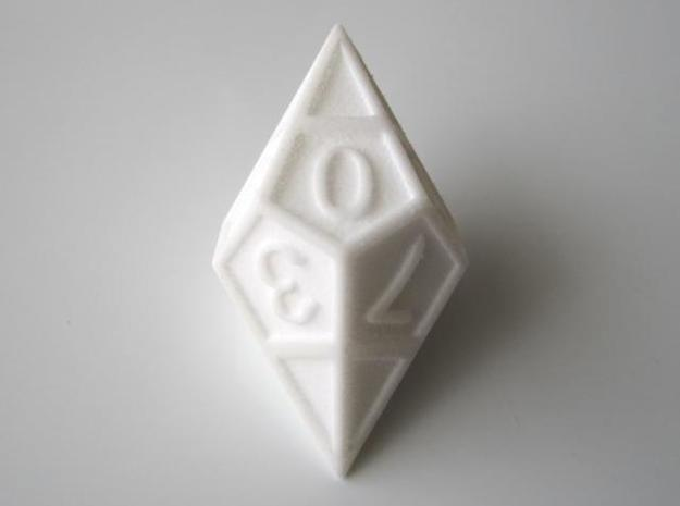 D10 Framed Diamond Dice 3d printed In Polished White Strong and Flexible