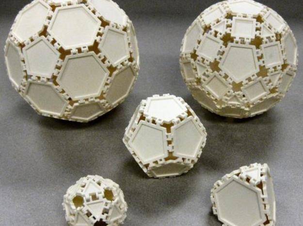 Tri Tile 3d printed Sample polyhedra that can be created.