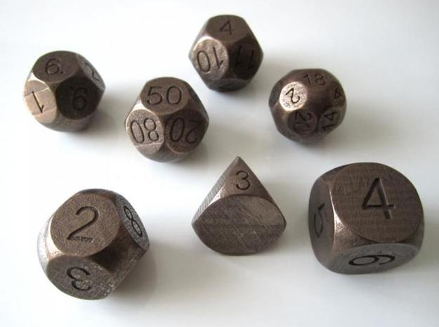 Sphere Dice Set 3d printed Antique Bronze Glossy (other view)