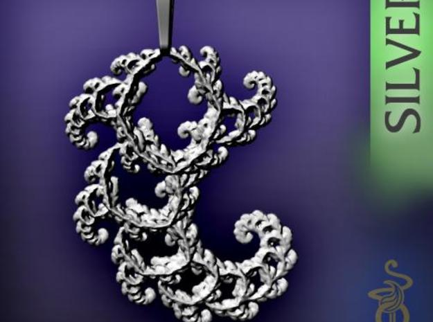 4.5cm Fractal lace, intricate spirals pendant 3d printed 5