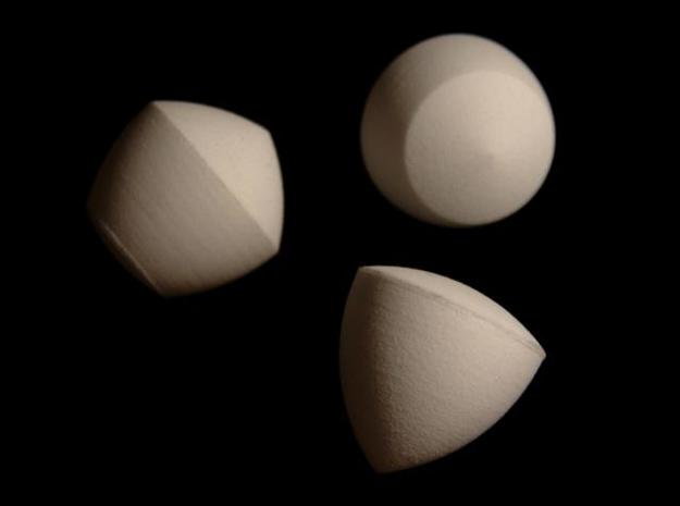 Constant Width Volumes 3d printed The printed and assembled product in white strong & flexible.