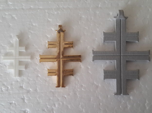 Gea's Cross 3d printed White Plastic, Gold Plate, Alumide