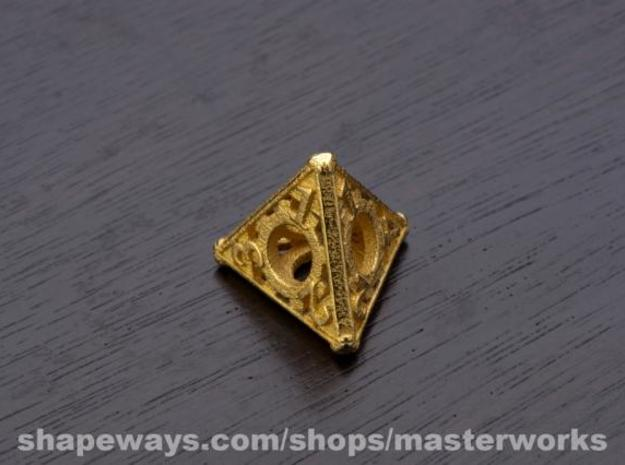 Steampunk d4 3d printed Gold Plated Glossy