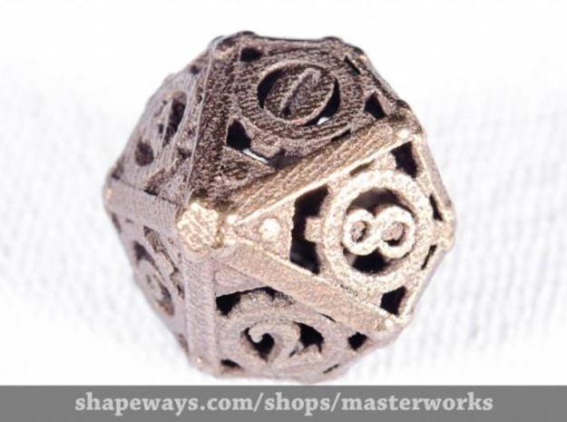 Steampunk d10 3d printed Antique Bronze Gloss
