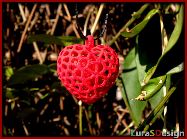 Double Heart Pendant - valentine pendant voronoi 3d printed previous version