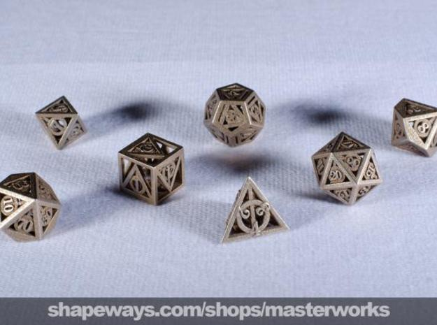 Deathly Hallows Dice Set 3d printed Stainless Steel