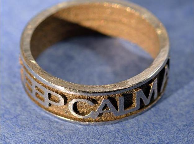 "Size 8 Steel Ring ""KEEP CALM & CARRY ON"" 3d printed Description"