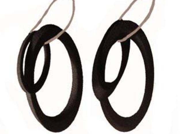 Oval earrings 3d printed In BSF