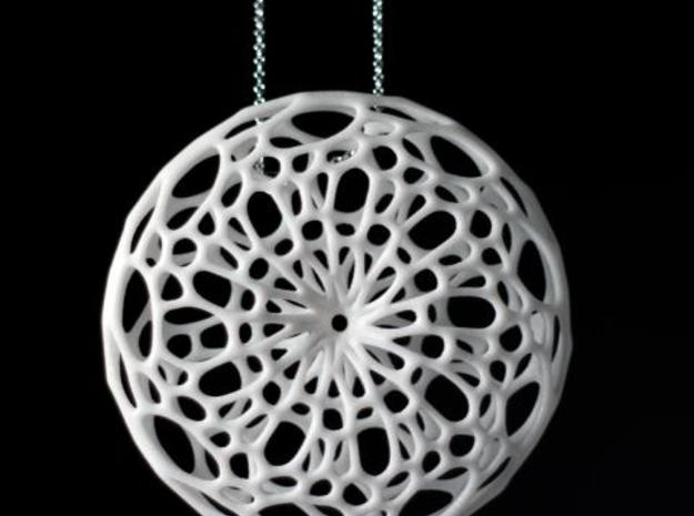 Cellular Pendant 3d printed in Silver Glossy