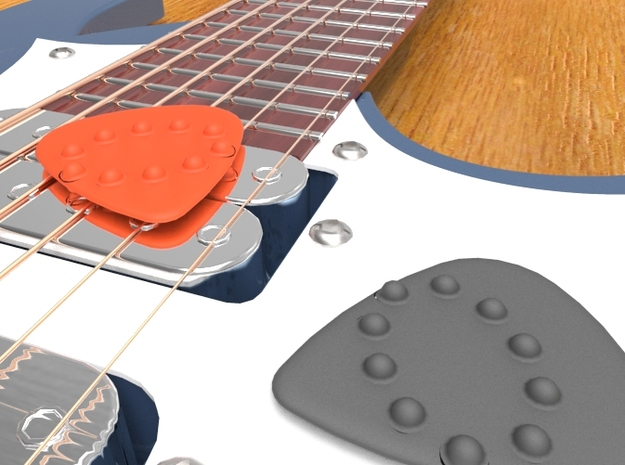 Guitar Pick Dimples - Oval Shape 3d printed Guitar pick with dimples on both sides