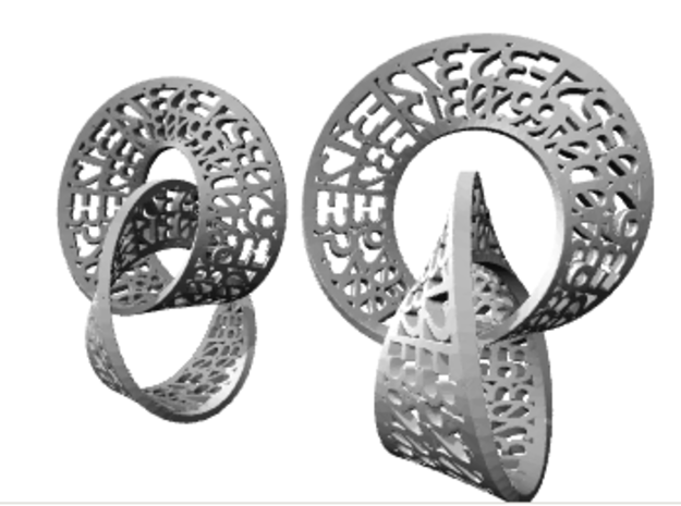 Reverse Abstraction Mobius Earrings 3d printed