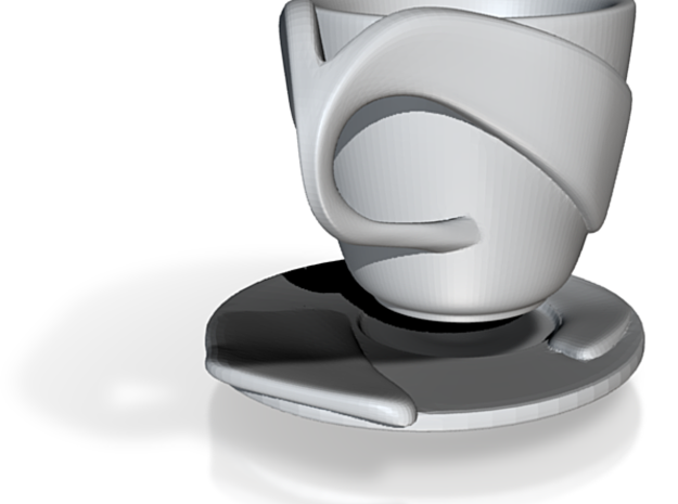 """Espresso Cup and Saucer Set: """"Open Handle"""" 3d printed"""