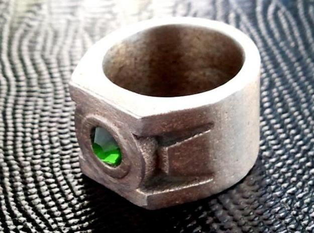 Green Lantern Ring size 12 3d printed Actual ring with crystal setting