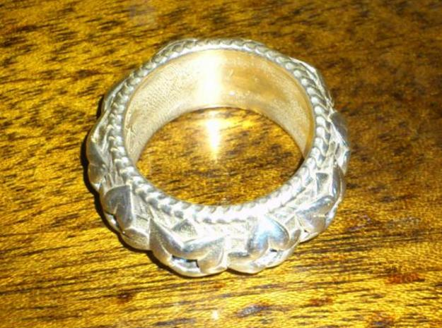 T's Ring V2 3d printed Another photo of the polished silver
