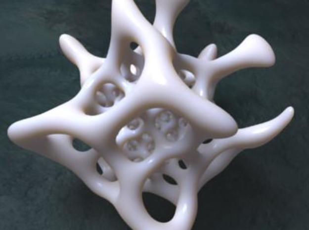InvGyroid - Broken 4 Low Budget - 3 3d printed Inverted bone style gyroid - 14 cm diameter version