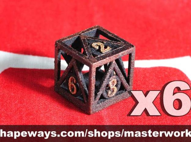 Deathly Hallows 6d6 Set 3d printed Plastic with Copper/Gold Rub'n'Buff