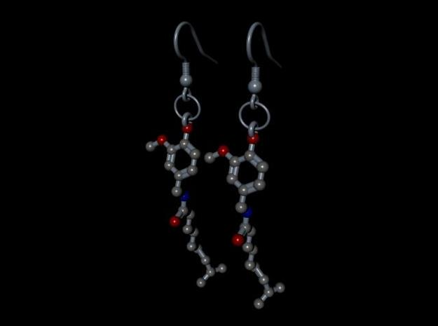 Earrings (Pair)- Molecule- Capsaicin 3d printed Render