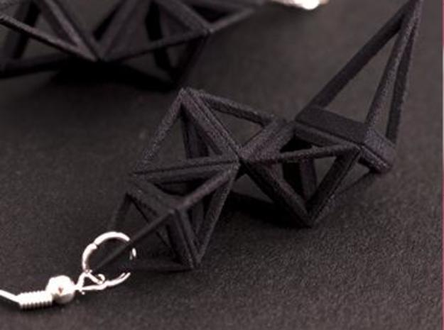 CRYSTAL - earrings 3d printed Black
