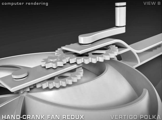 Hand-Crank Fan - slim 3d printed rendering