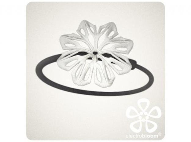 Anna flower charm. 3d printed WHITE ANNA FLOWER CHARM ON BLACK SNAP BANGLE