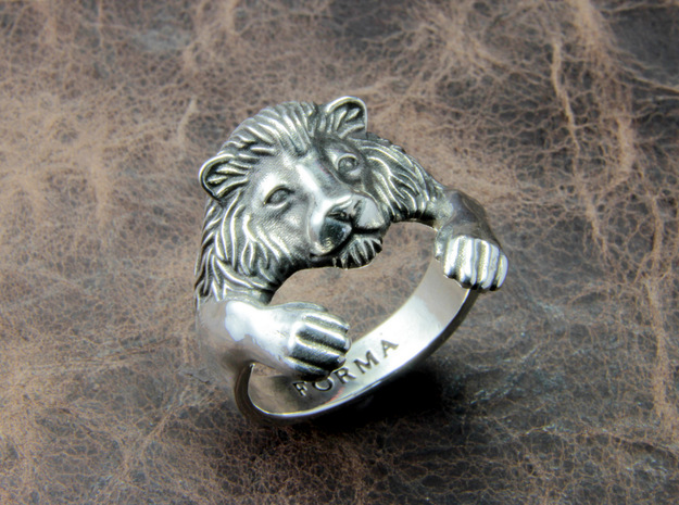 Lion Hug Ring 3d printed This material is Polished Silver , Patinated with bleach