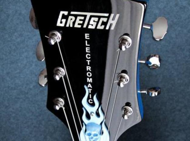 Guitar Truss Rod Cover With Pick Holder (narrow) 3d printed Mounted on a Gretsch