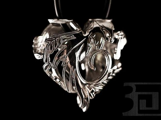 Silver Blossom Heart 3d printed