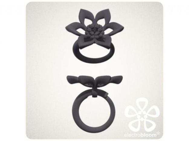 Judy flower charm. 3d printed Together with the snap ring in black